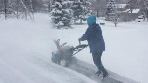 Pushing through the snow.