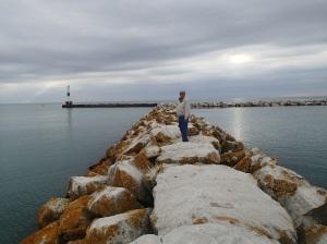 Walking the wall.