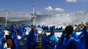 Riding Maid of the Mist at Niagara Falls.