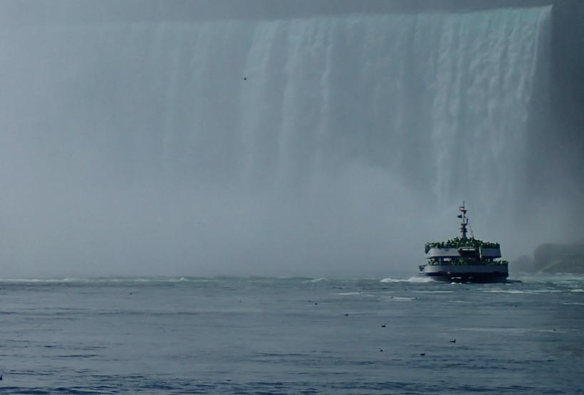 Boat in mist.