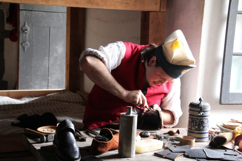 Making 18th century shoes.