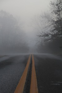 The road is long and hazy.