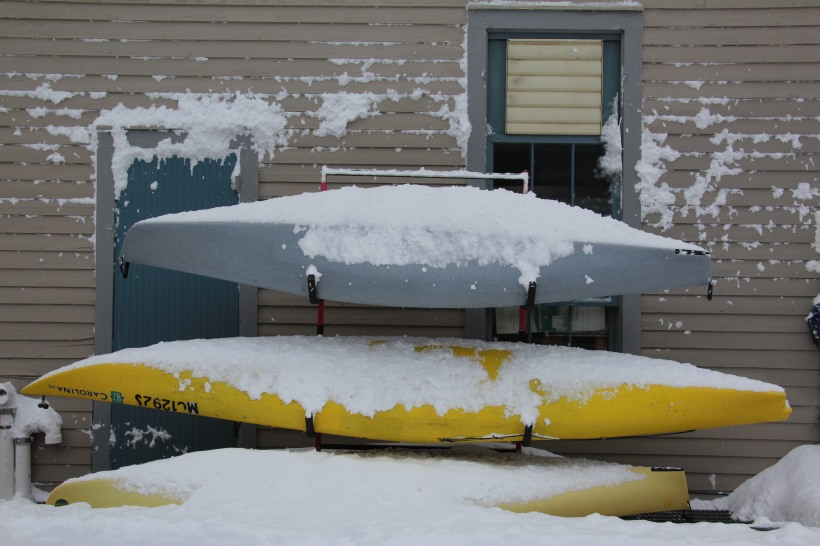 Kayaks resting until spring.
