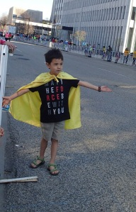 Superhero giving out high fives