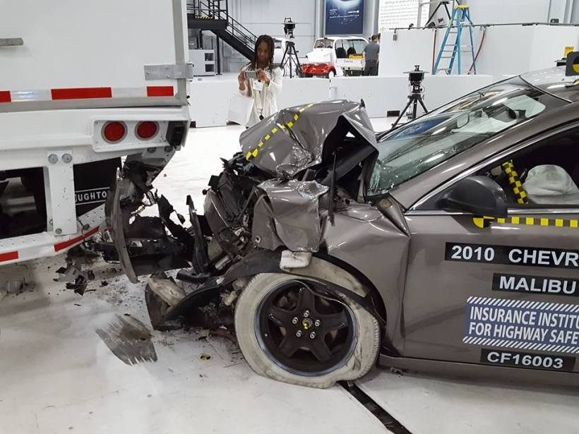 The dummy survived this crash because the rear guard was strong.