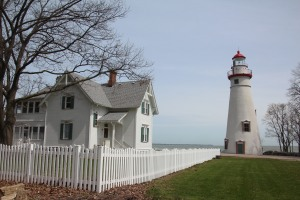 This lighthouse has a great view of the Cedar Point amusement park across the bay.