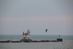 It was a cold day but people were kite surfing out there!