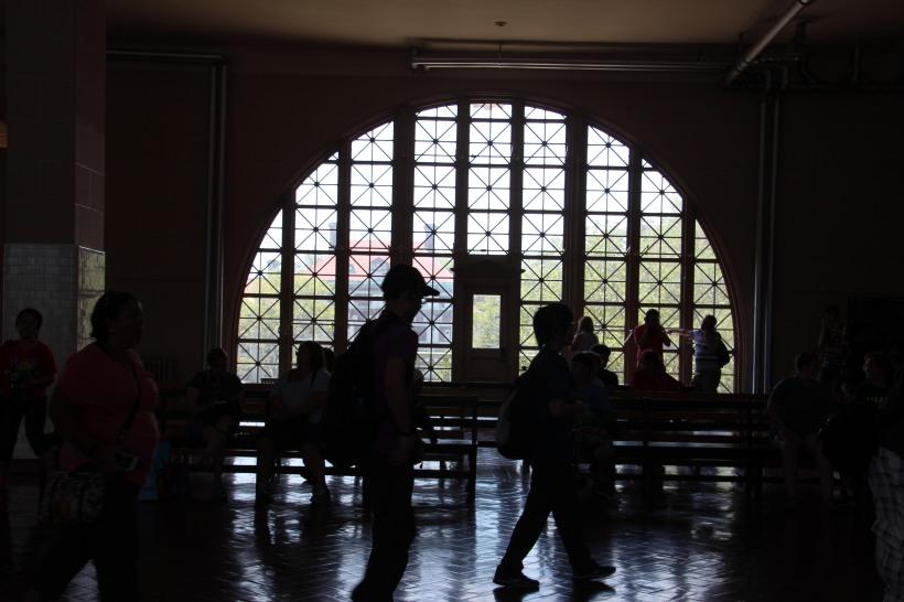 People passing through Ellis Island today.