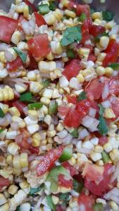 Fresh corn and tomatoes.