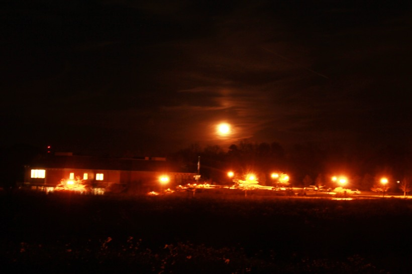Super moon over library.